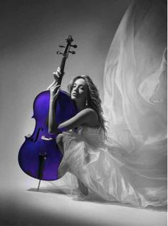 ♫♪ Music ♪♫ instrument cello with girl in white Dramatic play by *LadyMartist Splash Photography, Black And White Photography, Contrast Photography, Monochrome Photography, Black N White, Black And White Pictures, Color Splash, Color Pop, Colour