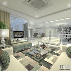 Inspiração para mezanino com estar íntimo! O branco predominante e decoração em verde turmalina. Lindo  @_decor4home