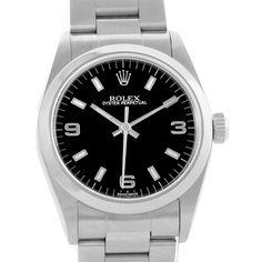 18599S Rolex Midsize 31 Datejust Black Dial Steel Ladies Watch 77080 Box Papers SwissWatchExpo