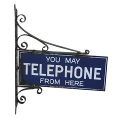 1stdibs - Old Enamel & Iron Telephone Sign explore items from 1,700  global dealers at 1stdibs.com
