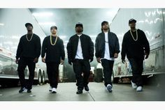 From left, Aldis Hodge, as MC Ren, Neil Brown, Jr. as DJ Yella, Jason Mitchell as Eazy-E, O'Shea Jackson, Jr. as Ice Cube and Corey Hawkins as Dr. Dre, in the film Straight Outta Compton.