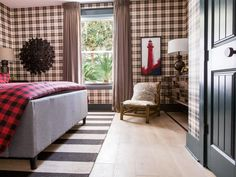 The cozy guest bedroom offers preppy, scholarly style with plaid wallpaper, rich hues and touches of brass and bronze. >> http://www.hgtv.com/design/hgtv-dream-home/2017/guest-bedroom-pictures-from-hgtv-dream-home-2017-pictures?soc=pinterest