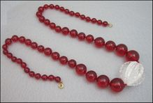 Vintage Clear And Red Chunky Lucite Necklace
