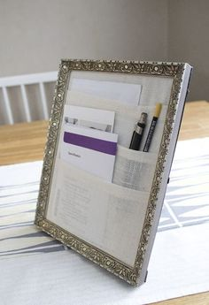 Picture Frame & Fabric to Create a Cute DIY Desktop File System