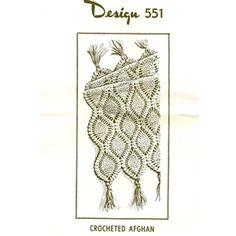 Crocheted Pineapple Afghan Pattern, Laura Wheeler 551, 3.00