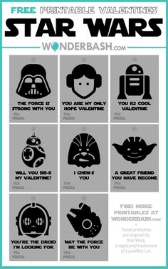 A roundup of 20 free printable valentines. Great for girls and boys: funny, happy, silly all the things great valentines are. Starwars Valentines Cards, Disney Valentines, Valentine Box, Valentine Day Crafts, Funny Valentine, Regalos Star Wars, Cuadros Star Wars, Printable Star, Star Wars Prints