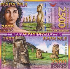 Polymer) Banknote Cat# P. Ancient Scripts, Federated States Of Micronesia, Polynesian Islands, Pitcairn Islands, Easter Island, Solomon Islands, Chile, Rap, World