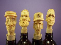 Hand carved wood bottle stoppers OOAK by OldBearWoodcarving, $20.00