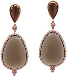 stunning smokey topaz earrings set in pink gold surrounding my diamonds
