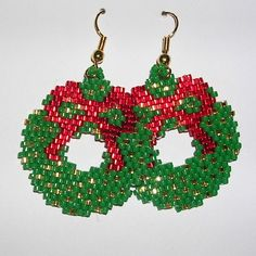 christmas women jewelry: beaded earrings   make handmade, crochet, craft