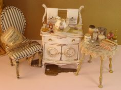 Mini antique women's side table and chair