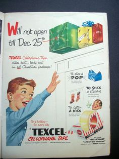 Vintage Christmas Ad ~ Texcel Cellophane Tape ~ 1950