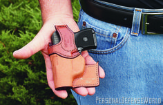 Pocket pistols should be carried in pocket holsters to reduce printing, protect the trigger and keep the gun in a consistent position for a reliable draw. Bianchi is just one company that makes holsters just for this purpose. Pocket Holster, Pocket Pistol, Gun Holster, Leather Holster, Self Defense Weapons, Weapons Guns, Guns And Ammo, Best Concealed Carry, Conceal Carry