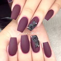 Top 55 gel nail design 2018 # burgundy # nails - Beauty Tips & Tricks Black Gel Nails, Red Stiletto Nails, Red Acrylic Nails, Red Nail Art, Burgundy Nails, Dark Nails, 3d Nails, Burgundy Wine, Red Burgundy