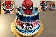 """3 Tiered Spiderman Cake for Leslie! Yellow cake with chocolate pudding…and additional 9"""" round for the family!"""