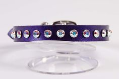 "Purple Pearl Leather Dog Collar with Swarovski Crystals `` Size Large (neck size 12"" - 14"") by JustForBella, $63.00"