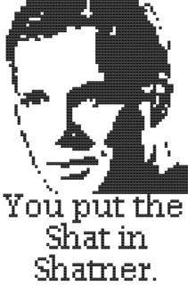 Items similar to The Shat in Shatner x stitch chart pdf star trek snark on Etsy Cross Stitch Designs, Cross Stitch Patterns, Star Trek Cross Stitch, Diy Ideas, Craft Ideas, Crochet Geek, William Shatner, Miniture Things, Crossstitch