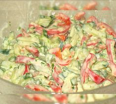 Paprika-Gurken-Salat mit Joghurt-Senf-Dressing Pepper and cucumber salad with yoghurt mustard dressing 1 Easy Salad Recipes, Chicken Salad Recipes, Quick Recipes, Cucumber Salad, Cucumber Dressing, Mustard Dressing, How To Make Salad, Antipasto, Fruits And Veggies