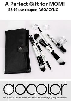 $8.99 -- 5Pcs Double Sided Makeup Brushes Set Foundation Eyeshadow Kits with Cases - with coupon AGOACYNC, Perfect gift for Mother's Day! BUY IT NOW: http://www.amazon.com/dp/B019FB4KFK