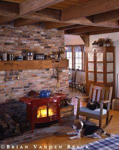 Brick behind fireplace