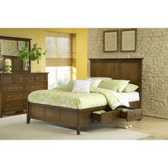 Modern Shaker Four Drawer Solid Mahogany Storage Bed in Truffle | Overstock.com Shopping - Great Deals on Domusindo Beds