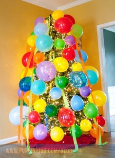 (decorate the tree with balloons one night)