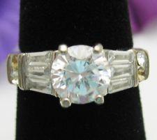 BRILLIANT CUT with BAGUETTES Rhinestone RING Vintage Silvertone 6.25 Sz 6 1/4 on ebay. MrZipMDO