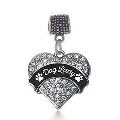 30d5be02f Inspired Silver Dog Lady - Paw Prints Pave Heart Memory Charm Fits Pandora  Bracelets & Compatible