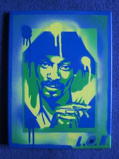 green snoop dogg painting by AbstractGraffitiShop on Etsy, $55.00