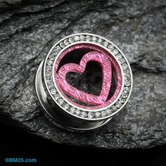 Sparkle Heart Multi Gem Screw-Fit Ear Gauge Tunnel Plug #piercing #jewelry #gauges
