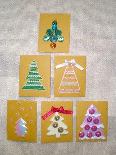 Christmas trees handmade mini cards 1,50 €