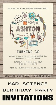 Set the mood for your mad science birthday party with this invitation. - Instant Download Editable PDF #ad #science #scienceparty #birthdayparty #birthdayinvite #invitations #madscience #birthday #instantdownload #printable #editable #pdf #etsy