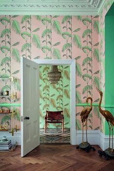 Love the colours! Cole & Son - Icons Collection - Palm Leaves Wallpaper - 4 Colours Available #richfashion #unique #style #homedecor #homedecorideas #wallpaper #love
