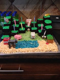 Minecraft world made from chocolate cake and Rice Krispies