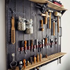 Tool Storage / Shown with leather working tools / DIY Garage Tool Organization /. Tool Storage / Shown with leather working tools / DIY Garage Tool Organization / Wall of tools Workshop Design, Workshop Storage, Workshop Organization, Garage Workshop, Garage Organization, Organization Ideas, Garage Storage, Workshop Ideas, Workshop Layout
