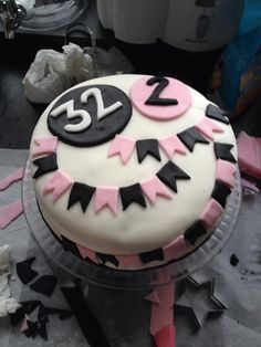 Birthday cake pink white black flags sweet little girl, strawberry and mascarpone