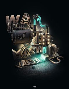War of the machines designed by - posted under Typography tagged with: Graphic Design, Typography by Fribly Editorial 3d Typography, Creative Typography, Lettering, 3d Design, Graphic Design, Type Design, Inspiration Typographie, Vitrine Design, Design Spartan