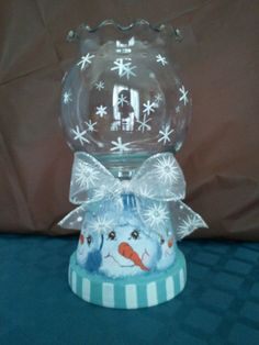Large, snowman themed candle holder - on sale in my craft store · Clay Pot . Snowman Crafts, Cute Crafts, Holiday Crafts, Diy Crafts, Christmas Clay, Christmas Projects, Christmas Ornaments, Christmas Nativity, Clay Pot Projects