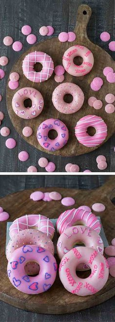 Valentines Day Donuts - treat your Valentine to a batch of these cute homemade donuts! Valentines Day Donuts - treat your Valentine to a batch of these cute homemade donuts! Valentines Day Food, Valentine Treats, Valentine Day Crafts, Holiday Treats, Walmart Valentines, Valentine Party, Dessert Party, Party Desserts, Cute Donuts