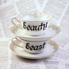 Beauty and Beast teacup and saucer set by geekdetails on Etsy, $50.00