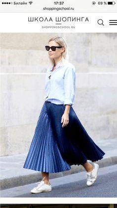 Blue Plaited skirt with shirt