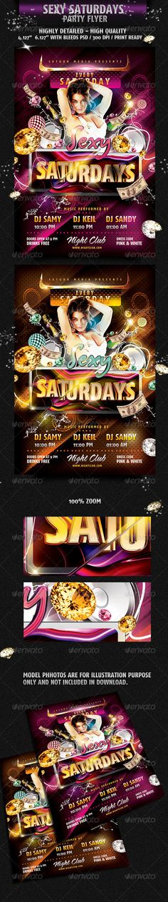 Sexy Saturday Dance Party Flyer — Photoshop PSD #attractive #sexy saturdays • Available here → https://graphicriver.net/item/sexy-saturday-dance-party-flyer-/2025548?ref=pxcr