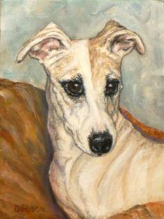 Lovely Whippet Oil Painting Dog Art Pet Animal Portrait, painting by artist Debra Sisson