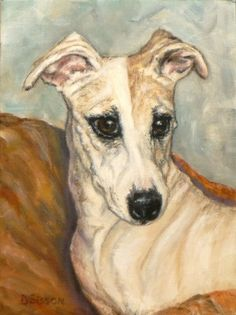 Lovely Whippet Oil Painting Dog Art Pet Animal Portrait, painting by artist Debra Sisson