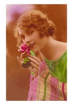 bueatiful and elegant Vintage Beauty, Vintage Cards, Artsy Fartsy, Pink Roses, Pink And Green, 1920s, Tulips, Fashion Beauty, Art Deco
