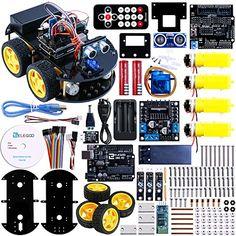 Elegoo Uno Projekt Smart Roboter Car Kit für Arduino mit Uno R3, Streckenverfolgungsmodule, Ultraschall-Sensor, Bluetooth-Modul, Fernbedienung, ect.