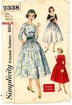 Rockabilly dress sewing pattern 50s Simplicity 2338 by HeyChica