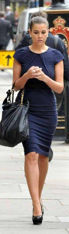 My style! Sophisticated, hair up in a bun, awesome dress, shoes and bag.