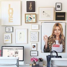 More is more on this gallery wall! Try combining different mediums as well as different-sized prints to create a dynamic wall.