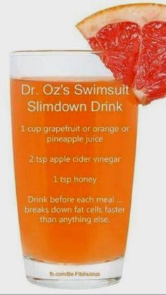 The Dr. Oz Swimsuit Slim Down Bikini Drink As its called: Ingredients Needed: Organic Grapefruit Juice Organic Apple Cider Vinegar (This brand is best) Raw Honey (Preferably from the farmers market if not this one works) (Organic stevia found here w Apple Detox, Lemon Detox, Ketogenic Diet Meal Plan, Diet Meal Plans, Diet Meals, Diet Foods, Low Carb Meal, Calorie Diet, Keto Vegan